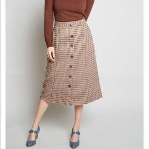Prepared Pupil Plaid Midi Skirt